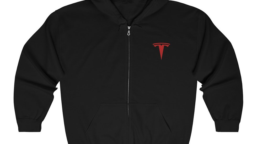 Tesla Logo Unisex Heavy Blend Full Zip Hooded Sweatshirt