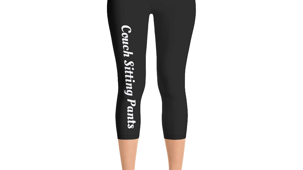Couch Sitting Funny Yoga Capri Leggings