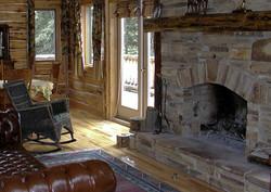 Limestone feature fireplace