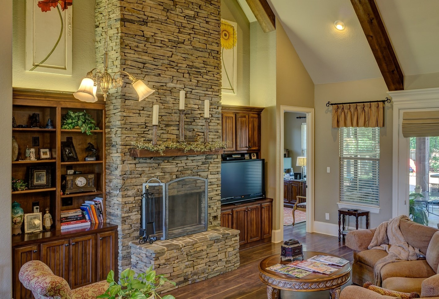 Stone fireplace adds comfort to your liv