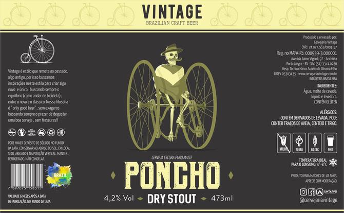Rótulo de Cerveja - Vintage - Poncho