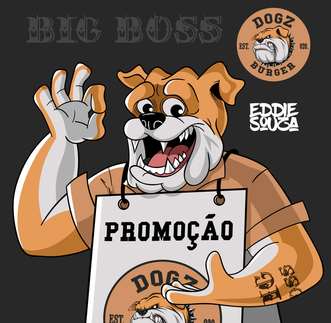 Mascote Big Boss - Hamburgueria Dogz Burger