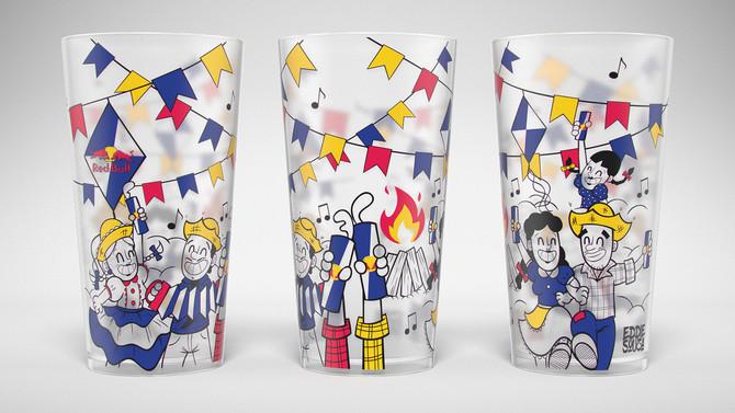 Ilustração de copo Festa de São João - Red Bull