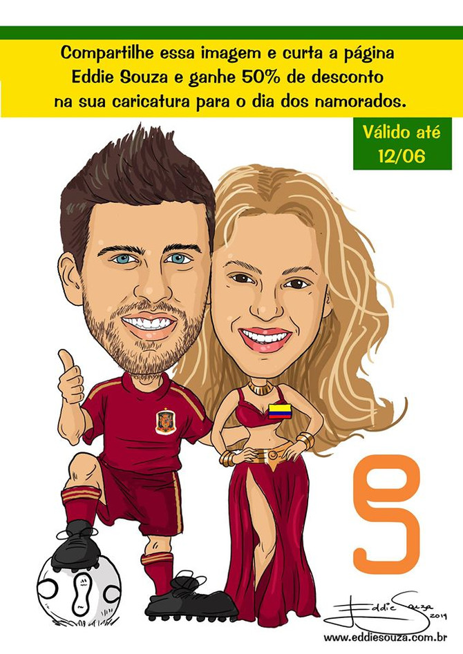 Caricatura Copa Parte 3 - Piqué e Shakira