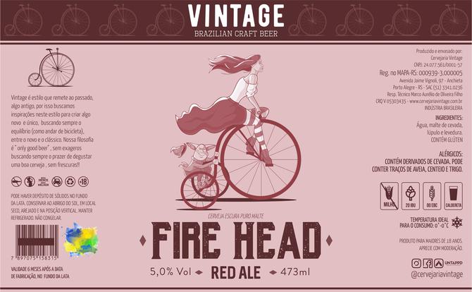 Rótulo de Cerveja - Vintage - Fire Head