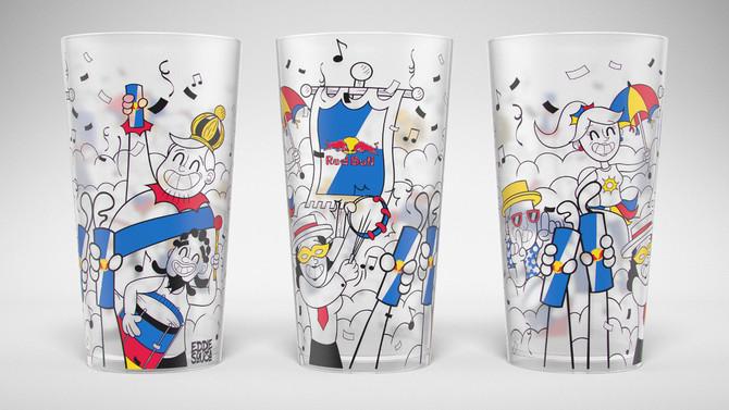 Ilustração de copo Carnaval Red Bull Brasil