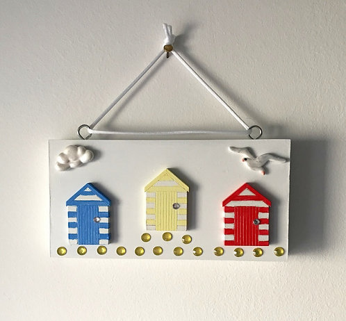 Beach Huts White Wooden Block Wall Hanging - Primary Colours