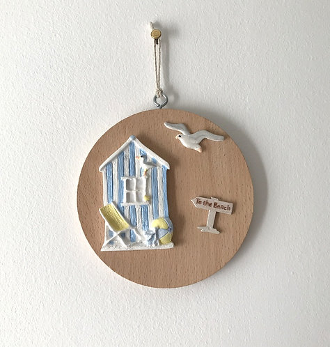 Beach Hut Wall Hanging - Med Beech Circle, Pastel