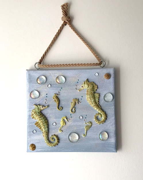Seahorse Family Wall Hanging on Blue Canvas (med)