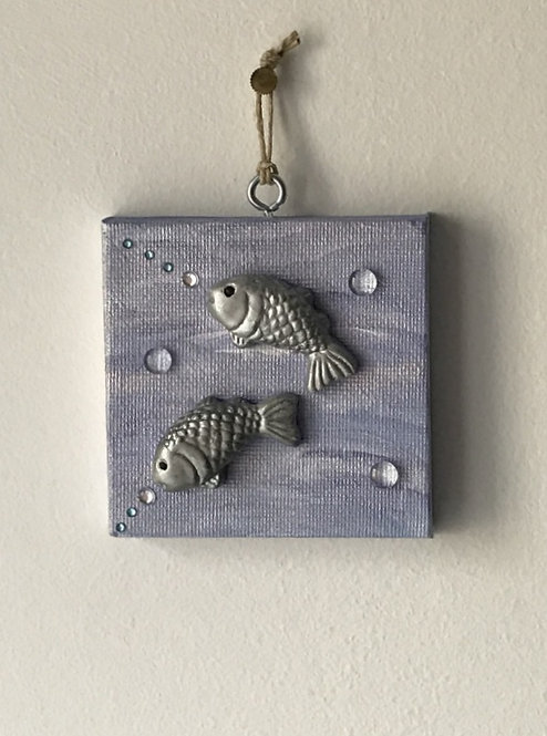 Leaping Fishes Wall Hanging - Tiny Blue Canvas