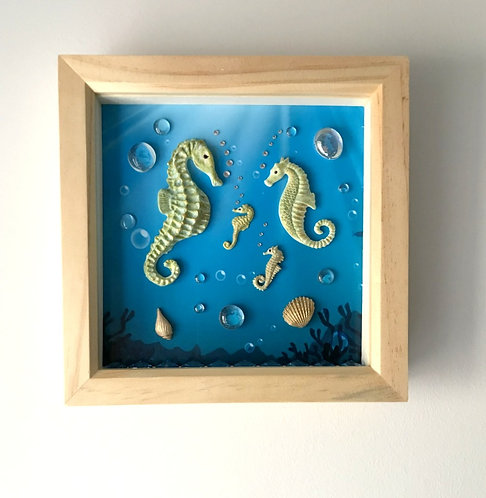 Seahorse Family Picture on Blue Background - Natural Wood Frame