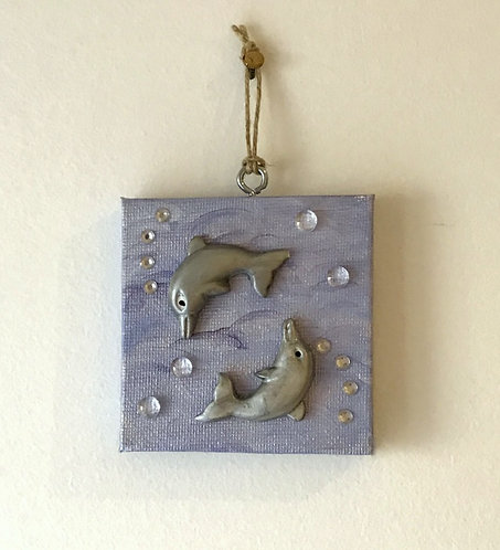 Somersaulting Dolphins Wall Hanging - Tiny Blue Canvas