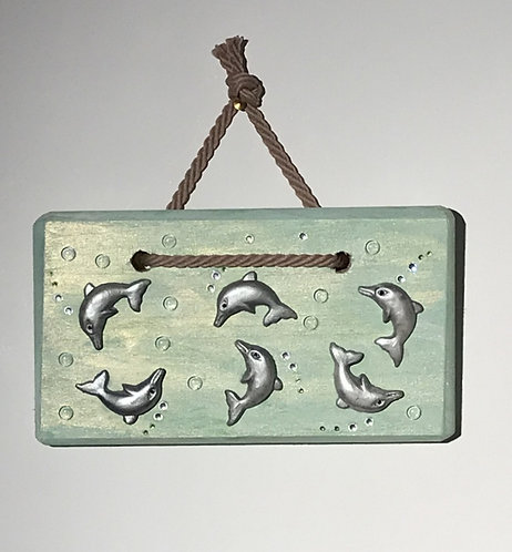 Somersaulting Dolphins - Green Wooden Plaque