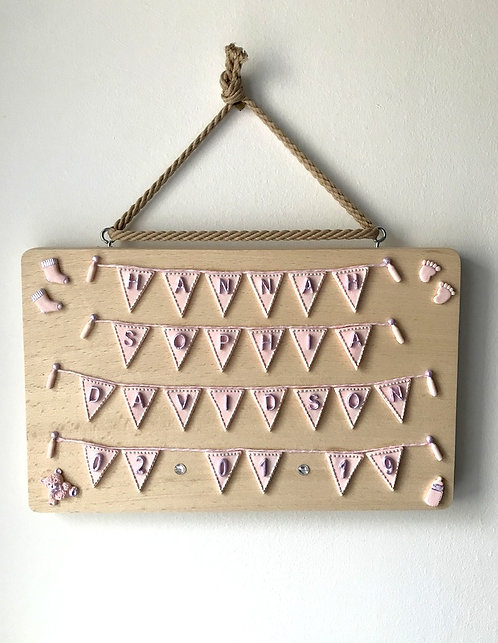 Personalised New Baby Wall Hanging - Wooden Plaque