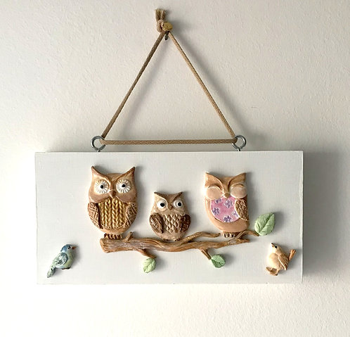 Owl Family Wall Hanging - Chunky White Block