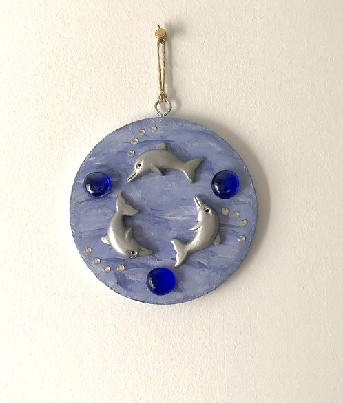 Somersaulting Dolphins Wall Hanging - Med Blue Round