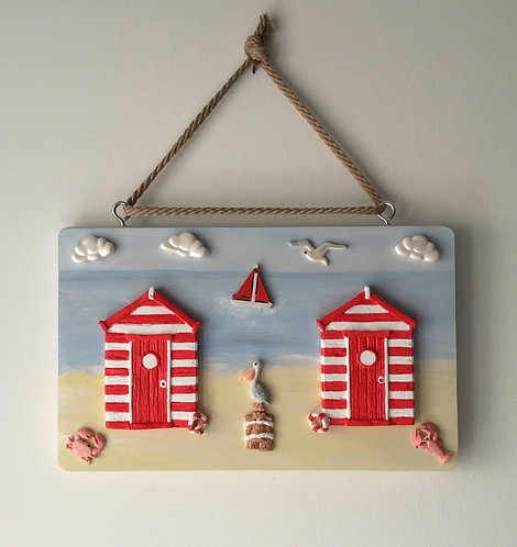 Beach Hut Wooden Wall Hanging - Primary