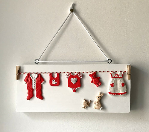 Baby's Washing Line Wall Hanging - Chunky Wooden Block
