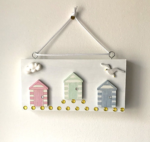 Beach Hut White Wooden Block Wall Hanging - Pastel Colours