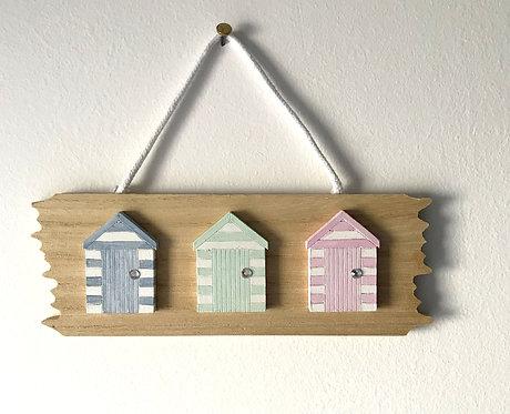 Driftwood Beach Hut Wall Hanging - Pastel