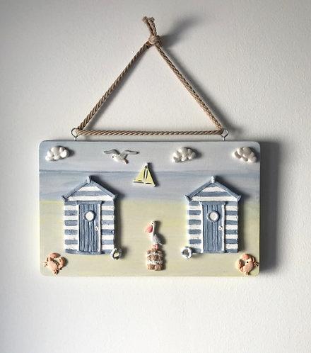 Beach Hut Wooden Wall Hanging - Pastel