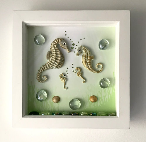 Seahorse Family Picture on Green Background - White Frame