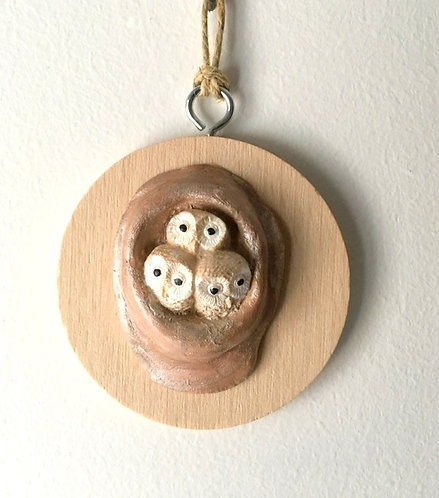 Baby Barn Owls Wall Hanging - Tiny Beech Round