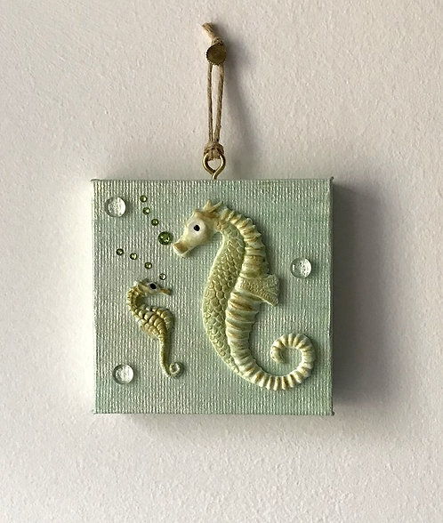 Seahorse Mum and Baby Wall Hanging - Tiny Blue Canvas