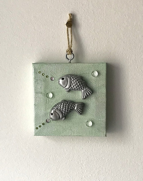 Leaping Fishes Wall Hanging - Tiny Green Canvas