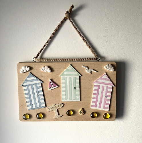 Wooden Beach Hut Wall Hanging - Pastel