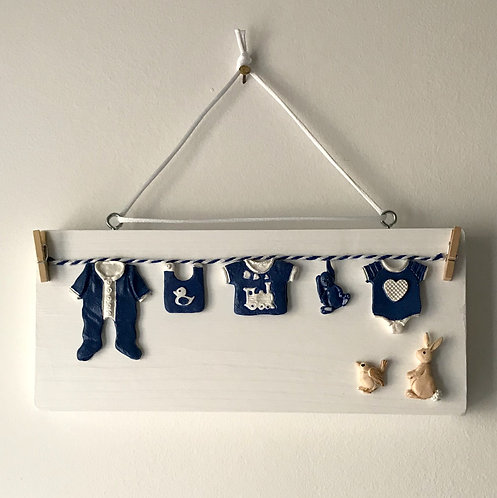Baby Clothes Washing Line Wall Hanging - Chunky Wooden Block
