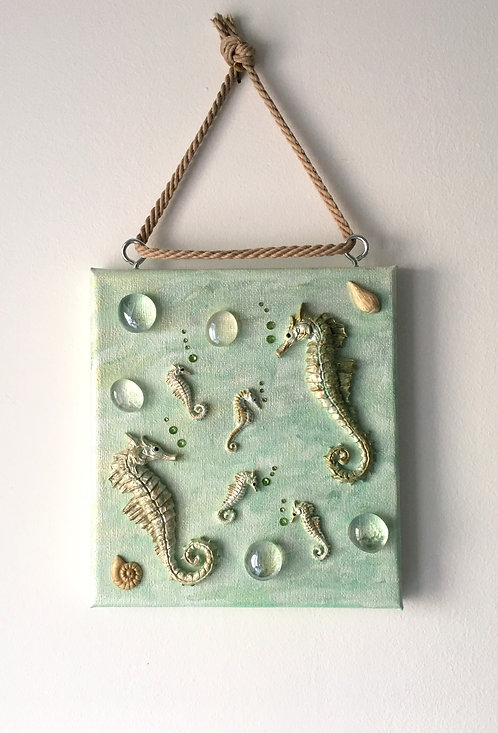 Seahorse Family Wall Hanging on Green Canvas (med)