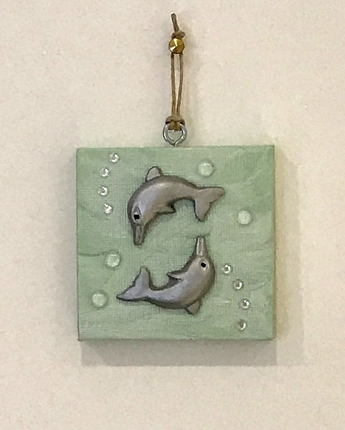 Somersaulting Dolphins Wall Hanging - Tiny Green Canvas