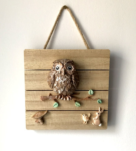 Slatted Wooden Owl Wall Hanging