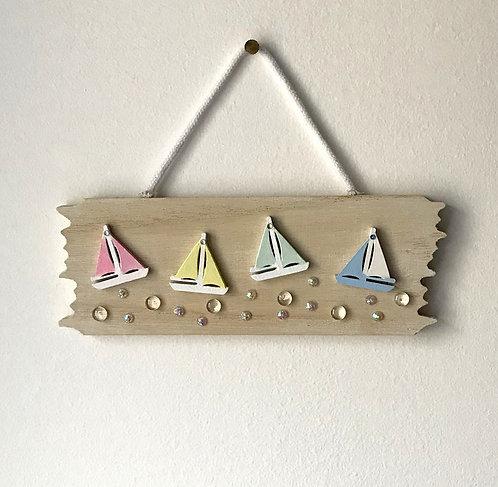 Driftwood Sailing Boat Wall Hanging - Pastel