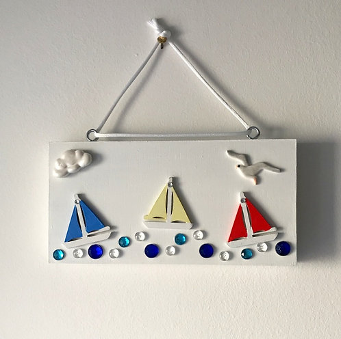 Sailing Boat Block Wall Hanging - Primary