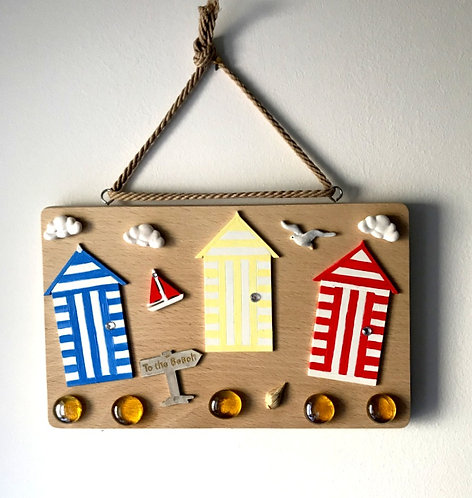 Wooden Beach Hut Wall Hanging - Primary
