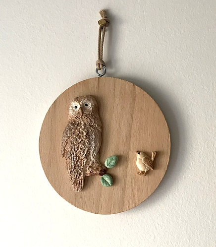 Tawny Owl Wall Hanging - Med Beech Round
