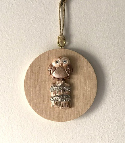 Little Owl Wall Hanging on Tiny Beech Round