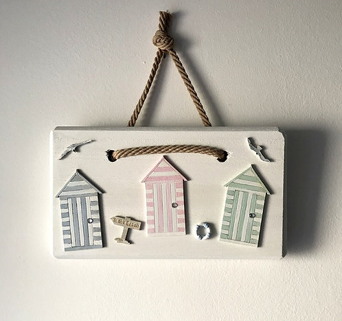 White-washed Wooden Beach Hut Wall Hanging