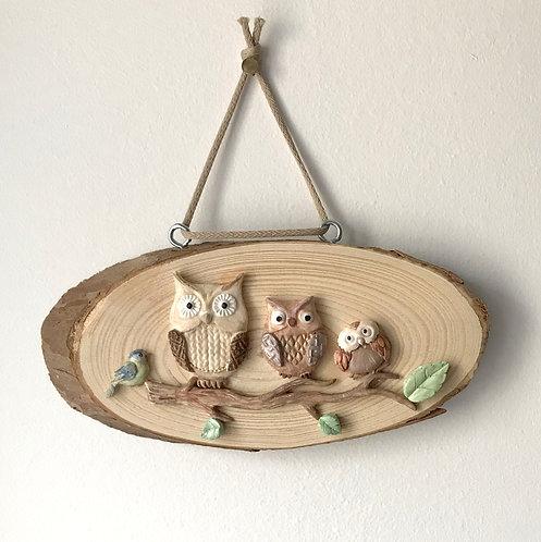 Owl Family- Log Wall Hanging