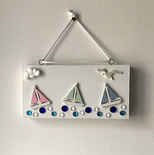 Sailing Boat Block Wall Hanging - Pastel