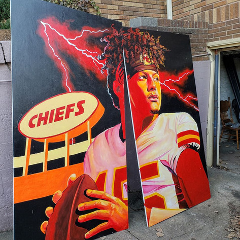 Mahomes mural being finished