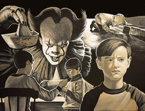 """""""IT""""..I was a finalist in the IT poster challenge. I was one of 20 paintings that was picked and shown in a gallery where they had the movie premiere after party."""