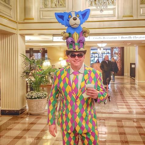 Blue Dog hat I made for Mardi Gras