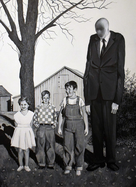 My Aunt, Mystery Kid and Dad With Slenderman