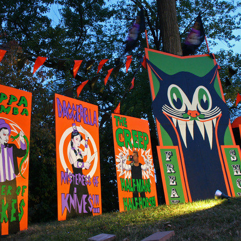 Halloween freak show in the front yard