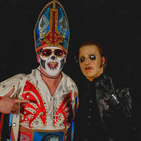 Me as Elvis Emeritus with Cardinal Copia the lead singer for the band GHOST