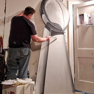 Painting the SuperBowl trophy