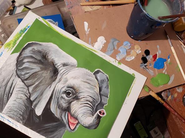 Painting baby elephant